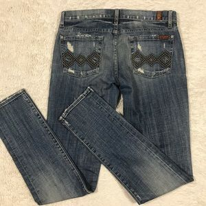 7 FAMK Roxanne Stud Pocket Distressed Jean